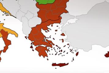 Κορονοϊός: Στο «κόκκινο» όλη η Ελλάδα – Ποιες περιοχές είναι σε «βαθύ κόκκινο»