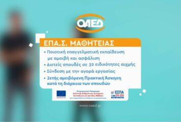 Αιτήσεις στις ΕΠΑ.Σ Μαθητείας του ΟΑΕΔ έως 15/09/2021